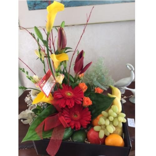 Luscious Fruit & Flower Basket